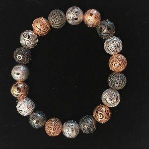 Silver Rose Black Beads Stretch Bracelet